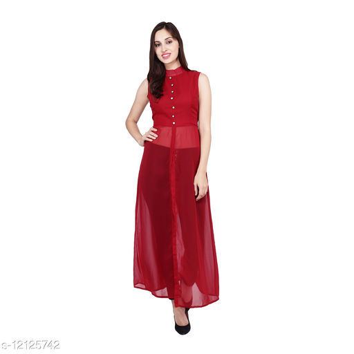 JB&WK Fashion's New Stylish Trendy Design Sleeveless Mandarin Collar Georgette Maxi Dress