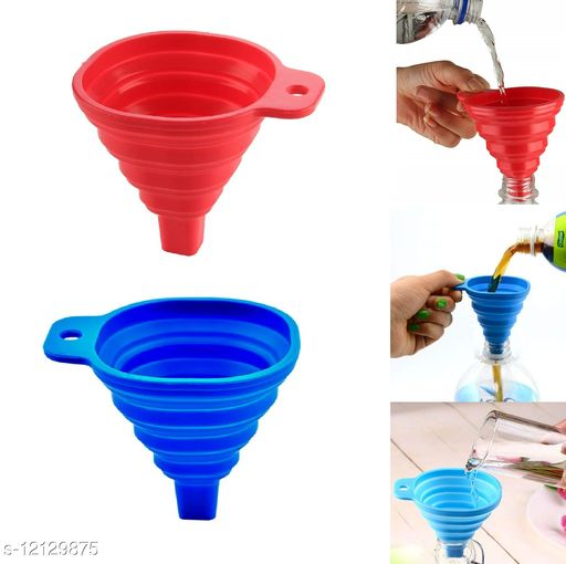 Krivish Multicolor Silicone Foldable Square Funnel For Oil, Water, Shampoo, Sanitizer Liquid Transfer Kitchen Tool - (Pack of 2)