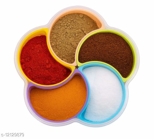 Krivish Multipurpose Flower Shape Plastic Transparent Masala, Pickle, Dry Fruits, Mouth Freshner, Candy, Snacks, Chocolate & Spice Container Storage Box