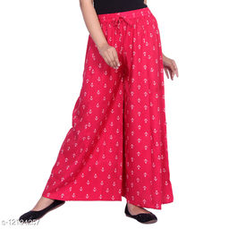 Gurara Anchor Soft Rayon Women's Regular Fit Printed Pink (Free Size)