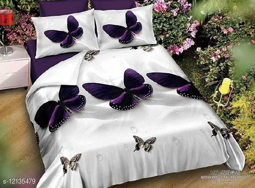 MV Choice 144 TC 3D Printed Polycotton Double Bedsheet with 2 Matching Pillow Covers (Multicolour, 90 inches X 90 Inches)