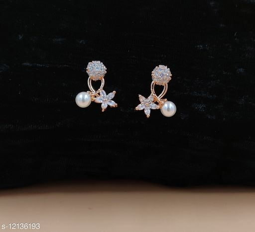 Neelam Feminine Rose Gold Plated CZ/AD Drop Earrings for Women & Girls