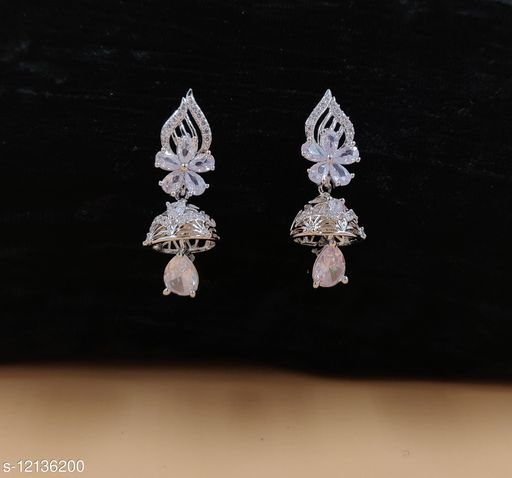 Neelam Shimmering Silver Plated CZ/AD Jumkhas for Women & Girls