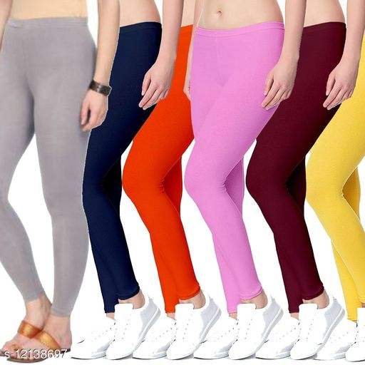 lycra 4 way stretchable ankle length legging combo (pack 6)
