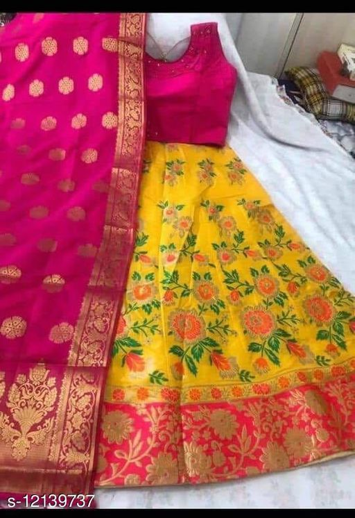 Desinger Brocade Fabric Lehenga Choli With Dupatta
