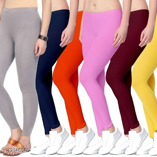 Cotton lycra 4 way stretchable ankle length legging combo (pack 6)
