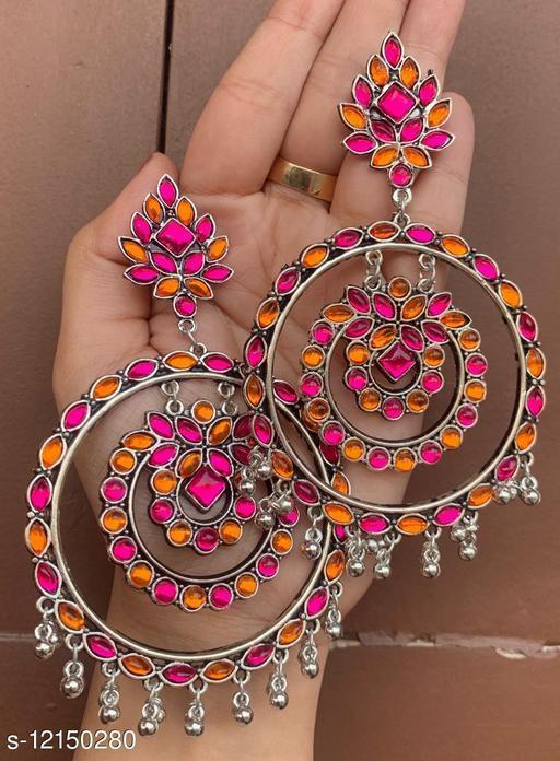 Oxidised Silver high quality Dangler Earrings for women & girls - pink orange stone