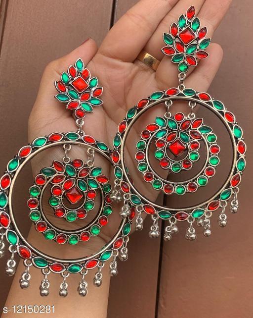 Oxidised Silver high quality Dangler Earrings for women & girls - Red Green stone