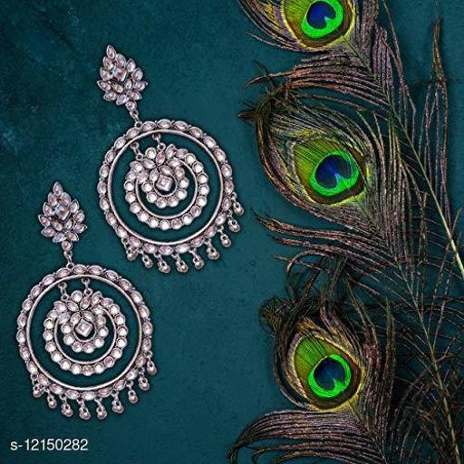 Oxidised Silver high quality Dangler Earrings for women & girls - white stone