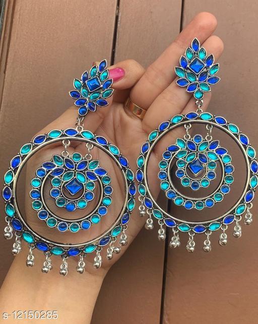 Oxidised Silver high quality Dangler Earrings for women & girls - blue stone