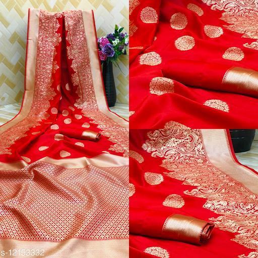 Pure Bright Red Colour Gold Toned Beautiful Trendy Banarasi Silk Woven Designer Saree