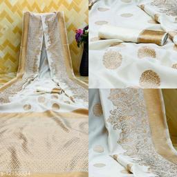 White Colour Gold Toned Beautiful Trendy Banarasi Silk Woven Designer Saree