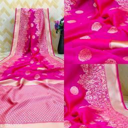 Pure Bright Pink Colour Gold Toned Beautiful Trendy Banarasi Silk Woven Designer Saree