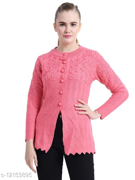 Stylish Womens Buttoned Embroidered Sweater/cardigan