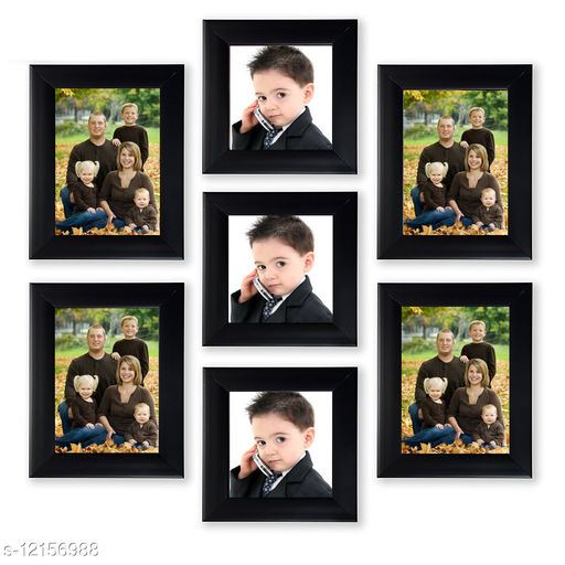 MY MAGIC GIFT SET OF 7 WALL PHOTO FRAME BLACK(4-4X6,3-4X4 INCH)