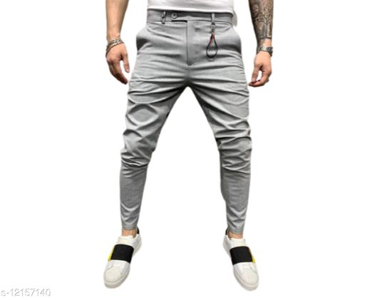 FLYNOFF Silver Solid Ankle Length Slim Fit Men's Track Pant