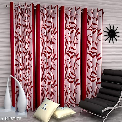 PARRY TRENDZ NEW POLYSTER BLEND SILKY MAROON GROMENT KOLAVERY CURTAINS SET OF FOUR (4)PIECE 4X5