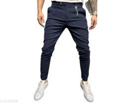 FLYNOFF Blue Solid Ankle Length Slim Fit Men's Track Pant
