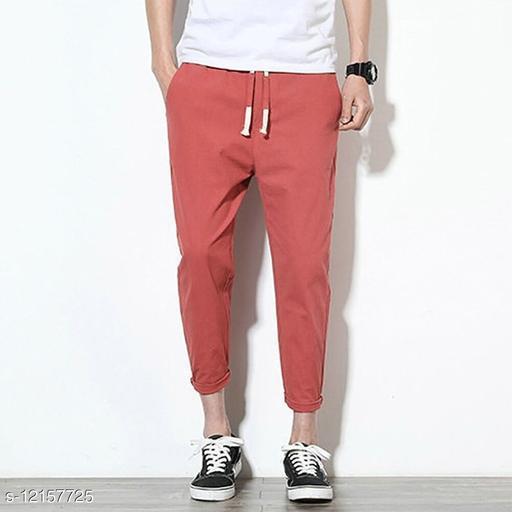 FLYNOFF Maroon Solid Ankle Length Slim Fit Men's Track Pant