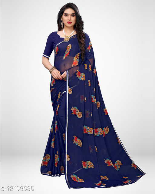 Sareemall Navy Blue Casual Chiffon Printed Saree With Unstitched Blouse