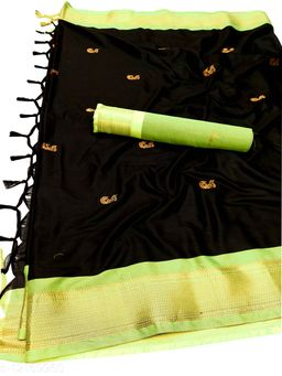 MH Traditional Paithani Silk Sarees With Contrast Blouse Piece  (Black & Neon)