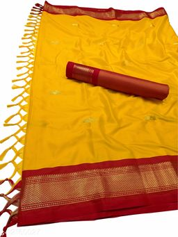 MH Traditional Paithani Silk Sarees With Contrast Blouse Piece  (Mango & Red)