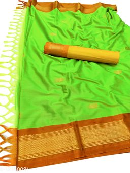 MH Traditional Paithani Silk Sarees With Contrast Blouse Piece  (Neon Green & Rust)