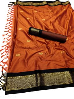 MH Traditional Paithani Silk Sarees With Contrast Blouse Piece  (Rust & Black)