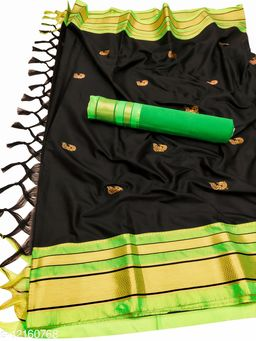 Irkal Traditional Paithani Silk Sarees With Contrast Blouse Piece  (Black & Neon)