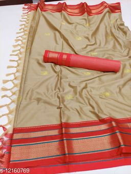 Irkal Traditional Paithani Silk Sarees With Contrast Blouse Piece  (Chiku & Red)