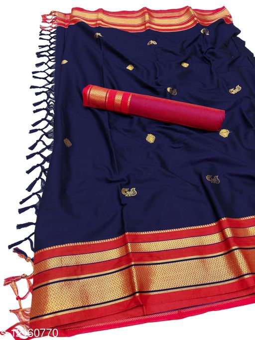 Irkal Traditional Paithani Silk Sarees With Contrast Blouse Piece  (Navy & Red)