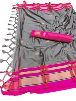 Irkal Traditional Paithani Silk Sarees With Contrast Blouse Piece  (Grey & Pink)