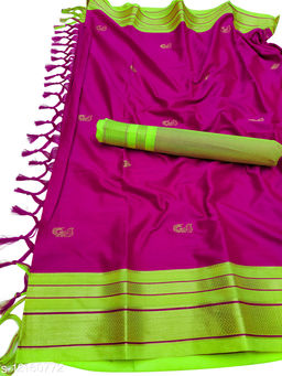 Irkal Traditional Paithani Silk Sarees With Contrast Blouse Piece  (Pink  & Neon Green)