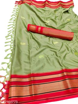 Irkal Traditional Paithani Silk Sarees With Contrast Blouse Piece  (Olive & Red)