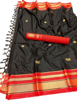 Irkal Traditional Paithani Silk Sarees With Contrast Blouse Piece  (Black & Red)