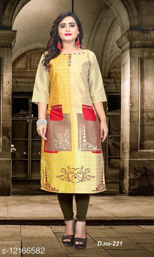 Women Taffeta Silk Straight Printed Yellow Kurti