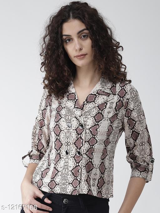 Style Quotient Women Beige & Brown Snakeskin-Print Shirt