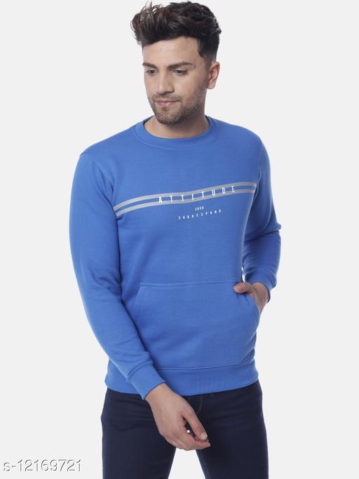 Rabbit pocket Men's Regular Fit Blue Round Neck Cotton/Blend  Sweatshirt,  Fabric: 70% Cotton, 30% Polyster