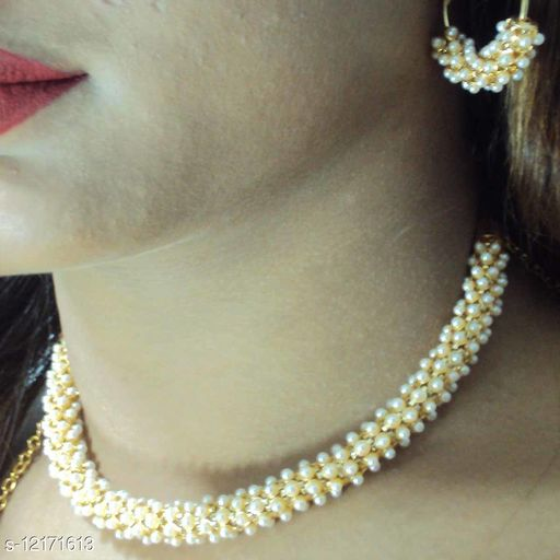 Choker Style AD Stones Studded Necklace Set with Matching Earrings for Women and Girls