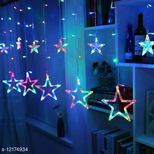 AAR BEE WORLD Star Led Light with 12 Hanging Stars 136 LED Lights, Curtain Decorative Star Lights, Decoration Lights for Diwali Christmas String Fairy Lights Diwali Lights Multi Colour