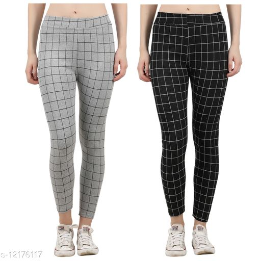 Eazy Trendz?™ Womens Checkered Pattern Ankle Length Tights Multicolour Combo Free Size(Pack of 2) ( Best Fit to the Hip Size 28 inch to 34 Inches)