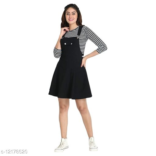 Stylish Dungaree Skirt With Striped Top For Women