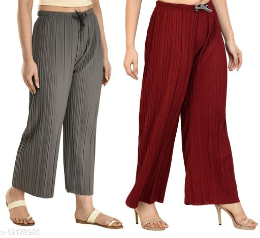Gladly Women's Solid beautifull Pallazzos for women and Girls 2Pcs Combo