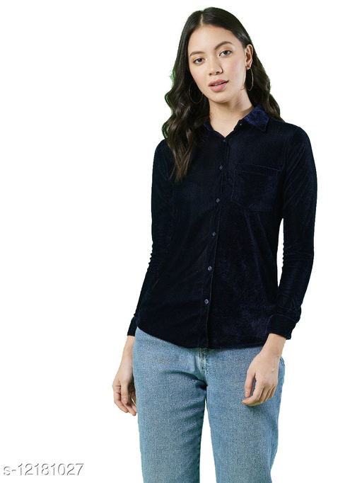 LimeScotch  Velvet  top and shirt Pack of 1 Color Navy