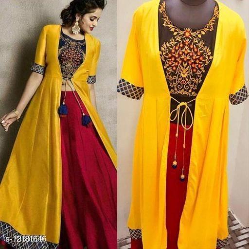 Women Rayon Embroidered Crop Top Kurti