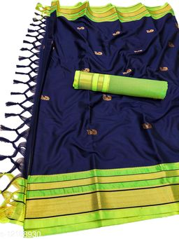 Irkal Traditional Paithani Silk Sarees With Contrast Blouse Piece  (Navy & Neon)