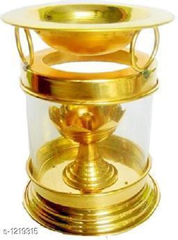 Traditional Brass and Glass Diya