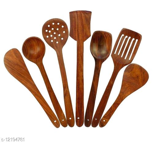 Indian Wood Crafts Handmade Wooden Non-Stick Serving and Cooking Spoon Kitchen Tool Set of 7 Beautiful