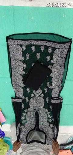 Women's Black Embroidered Chiffon Kurti