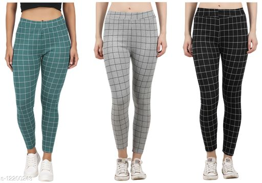 Eazy Trendz?™ Womens Checkered Pattern Ankle Length Tights Multicolour Combo (Pack of 3) Free Size (best Fit to the Hip Size 28 inch to 34 inch)